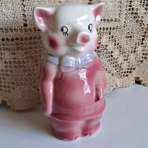 """Vintage """"Pig"""" Piggy Bank with Bow Tie and Apron"""
